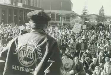Howard Keylor addressing anti-apartheid rally, Berkeley, December 1984